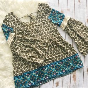 Boho bell sleeve print top sage green